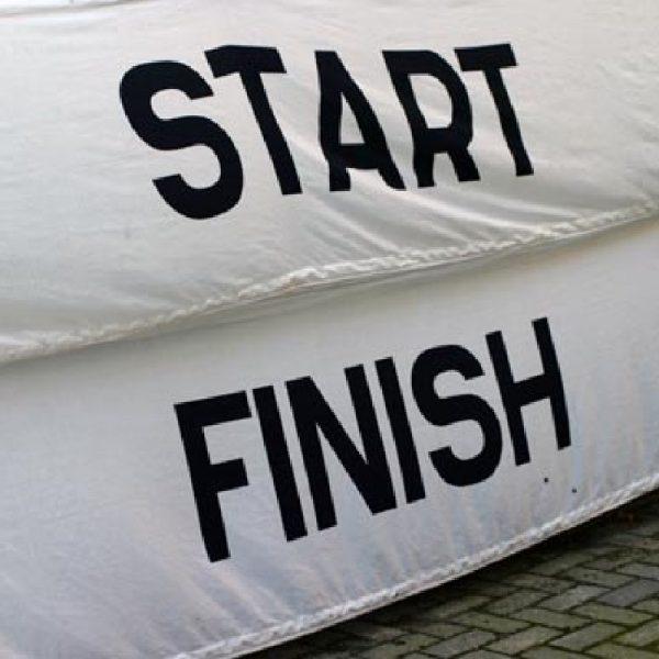 start en finish doek